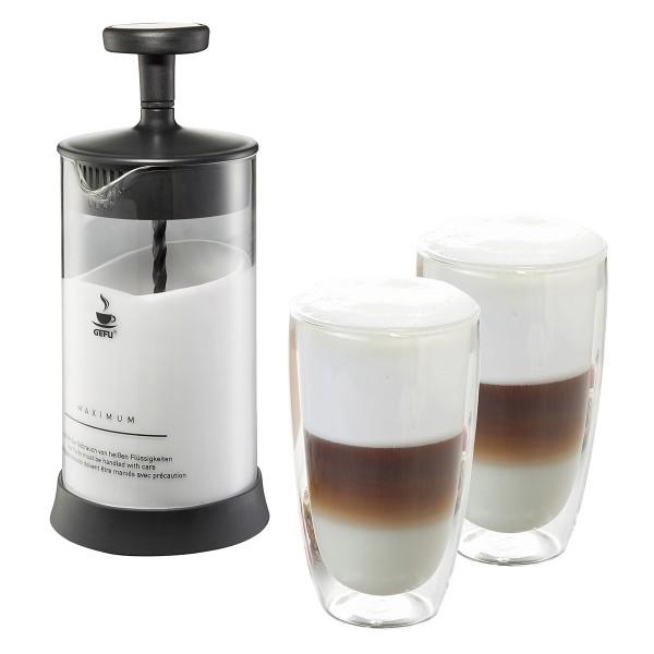 GEFU Milchaufschäumer inkl. 2 doppelwandige Latte Macchiato Gläser 350ml Antonio