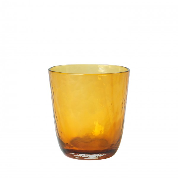 Broste Copenhagen Trinkglas 0,33L amber HAMMERED