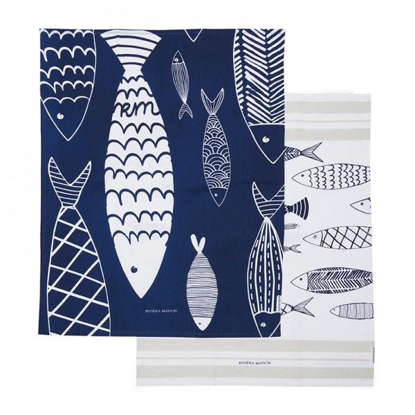 Rivièra Maison Tea Towel 2er Seafood RIVIERA MAISON 50 x 70