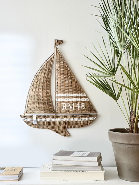Rivièra Maison Wanddeko Segelboot RUSTIC RATTAN 51 x 63 x 3