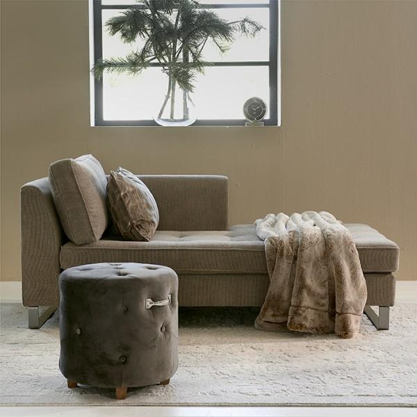 Rivièra Maison Footstool Velvet Anthra BOWERY