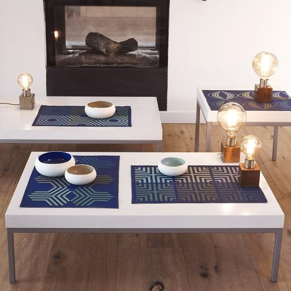 Le Jacquard Francais Set 50x36 blau KALEIDOSCOPE VIBRATION