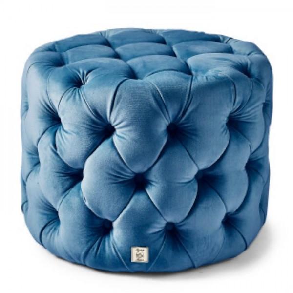 Rivièra Maison Footstool Velvet Ocean Blue OPERA