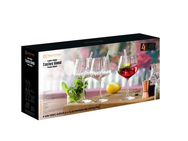 Nachtmann Gin&Tonic Set 4 Gläser mit 4 Glastrikhalmen