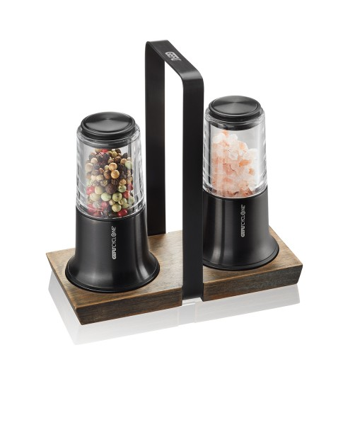 GEFU Salz- und Pfeffermühle Set schwarz X-Plosion H14,5cm inkl. Menage