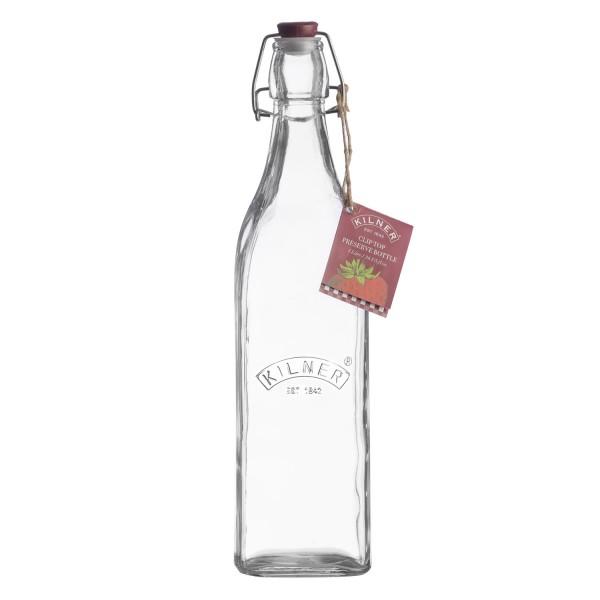 Kilner Glasflasche1L eckig Bügelverschluss
