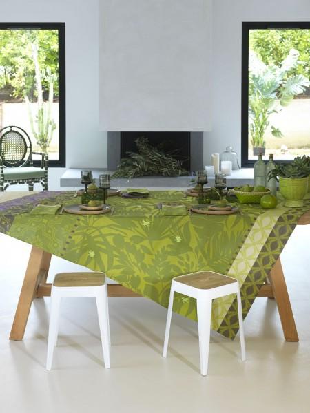 Le Jacquard Francais Tischdecke 150x150 Jungle BAHIA abwischbar & beschichtet