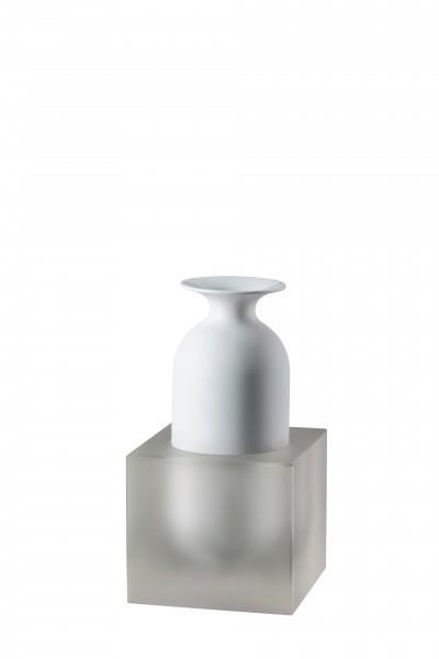 Rosenthal Vase 23cm 2tlg Weiß/Glas FREDDO